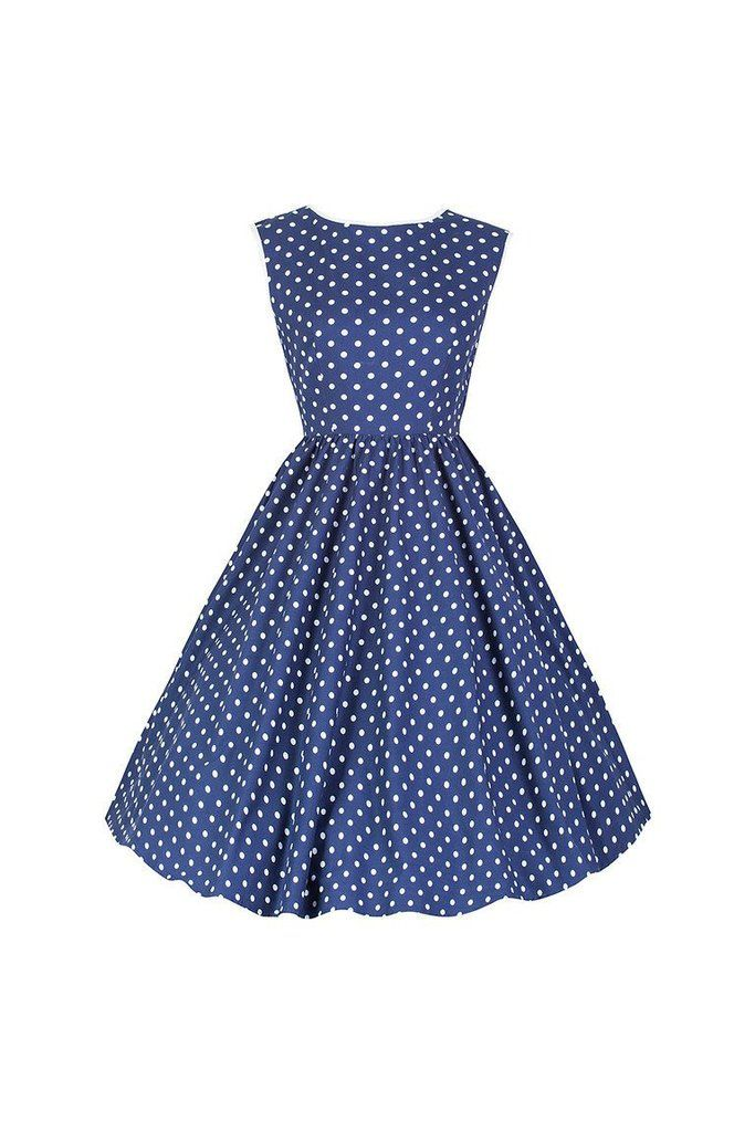 Navy Blue and White Polka Dot Audrey Swing Dress