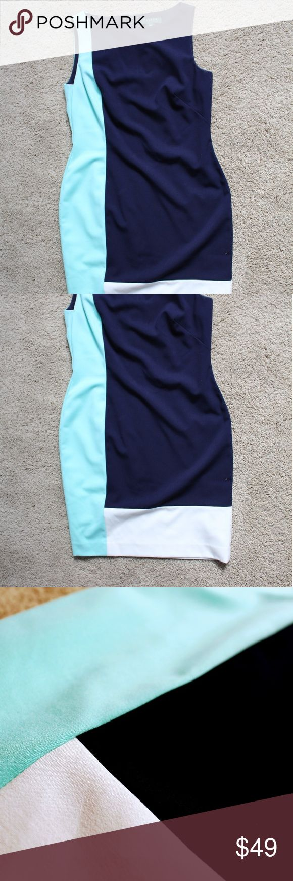 RALPH LAUREN Colorblock Dress Perfect for work. Navy, light blue, and white colorblocking. Fabric has slight stretch. No signs of wear. Ralph Lauren Dresses