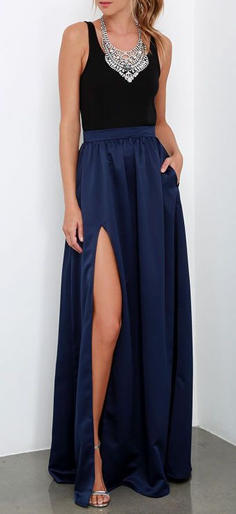 'Twas a Dream Navy Blue Maxi Skirt