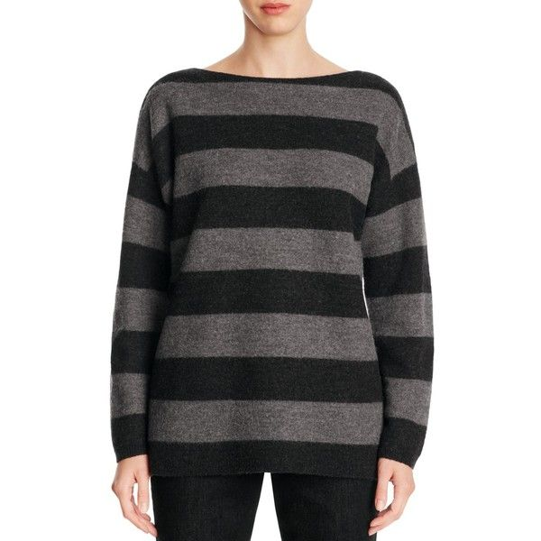 Eileen Fisher Drop Shoulder Stripe Merino Wool Sweater ($137) ❤ liked on Polyvore featuring tops, sweaters, ash charcoal, petite, striped top, slouchy sweater, merino top, merino wool tops and petite sweaters