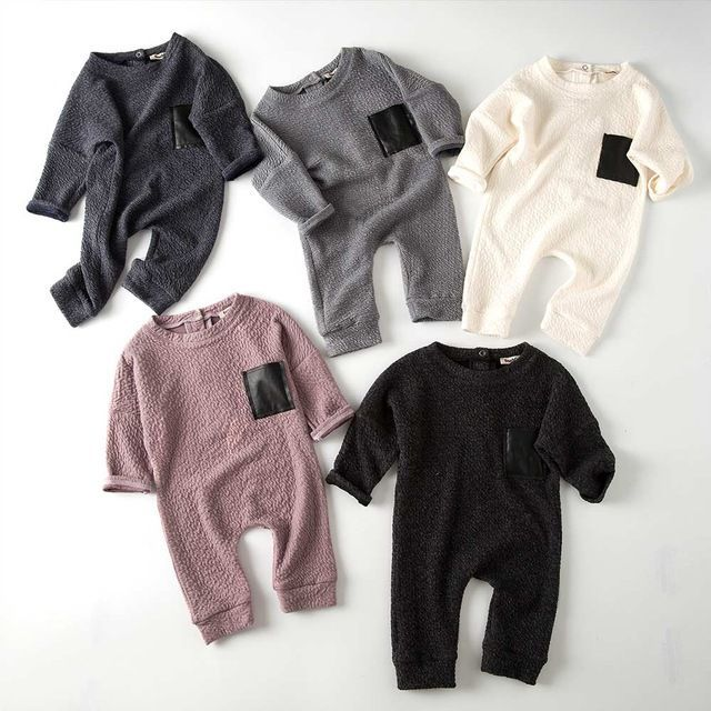 TouchCare 2017 Fall Autumn Embossed Long Sleeve Baby Jumpsuits Newborn Boys Girls Leather Pocket Romper Kids Infant Clothing https://presentbaby.com
