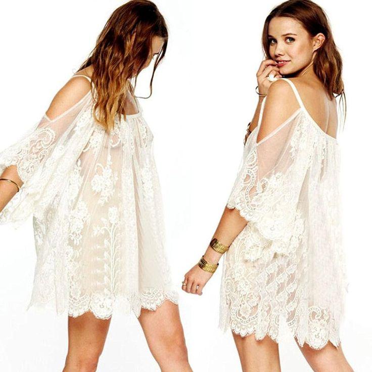 Kwok Dress, Women's Vintage Hippie Boho Embroidered Floral Lace Crochet Mini Dress at Amazon Women's Clothing store: