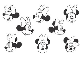 Vector logo download free: Minnie Mouse (Black-white) Logo Vector