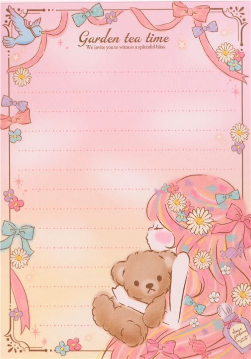 kawaii colorful memo pad from Japan with a pretty girl