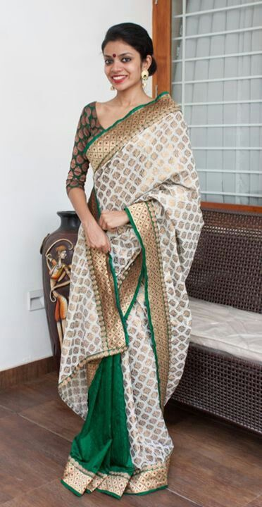 Stunning Style White & Green Color Polka Designer #Ethnic #Saree