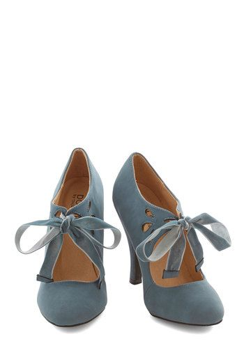 Tea on the Train Heel in Storm - High, Faux Leather, Solid, Wedding, Party, Vintage Inspired, 20s, Darling, Variation, Blue, Lace Up