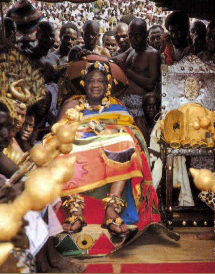 Africa | The Golden Stool of the Asante was hidden in 1896 to prevent it from falling into British hands.  After it was accidentally rediscovered in 1920, some of its gold ornaments were stolen and melted down.  Today it is sometimes displayed on great public occasions, such as the Yam Festival in Kumasi.. | ©Rene and Denise David. Kumasi, 1985