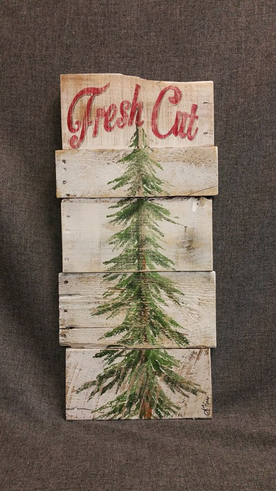 Christmas tree for sale, white washed, Fresh Cut, Pine tree Reclaimed Pallet Art, christmas Hand painted, Shabbt chic, Distressed  Original Acrylic painting on reclaimed Pallet boards. This unique piece is 24 x apprx. 12  This heavily aged Christmas tree sign is on a white-washed background with the words Fresh Cut painted in red across the top. It is perfect for a personalized rustic touch to your Christmas decorating. Perfect for that skinny wall space or just lean it against the wall…
