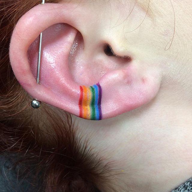 Rainbow for Rachel. Thank you for the awesome idea girl! #tattoo #tattoos #rainbowtattoo #pridetattoo #gay #gaytattoo #eartattoo #femaletattooartist