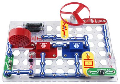 "Snap Circuits® Jr. 100 Experiments - An idea for an elementary library ""makerspace"" center, $30 for a starter kit seems well worth it."