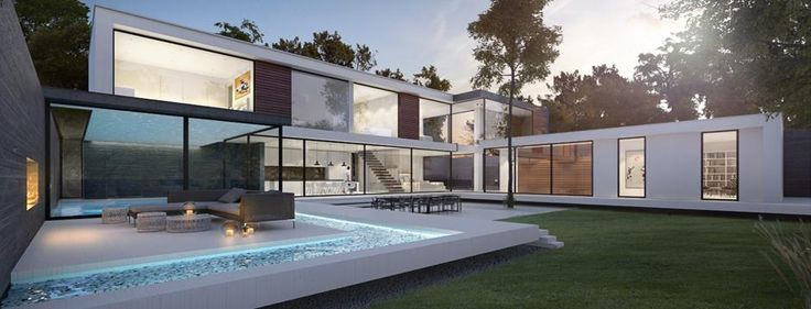 Modern white house that opens up into the landscape around it. Glazed sliding doors open up the swimming pool to the rest of the open plan living spaces.