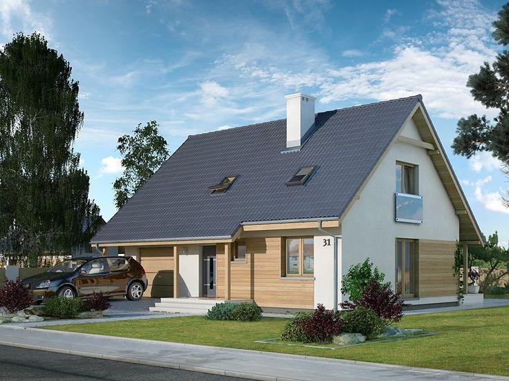Jest to dom energooszczędny charakteryzujący się zwartą bryłą, w której mieści się jednostanowiskowy garaż i kotłownia usytuowana tuż za nim. To dom prosty i funkcjonalny, co z pewnością umożliwi wybudowanie go w ramach rozsądnych środków.