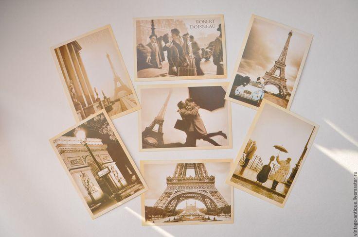 Купить Набор винтажных ретро открыток почтовых Города мира 32шт. - бежевый, винтажная открытка