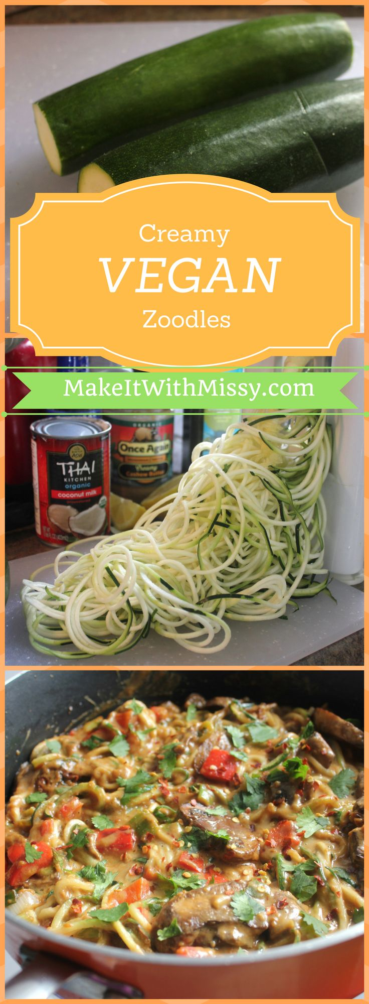You'll love this healthy recipe for zoodles with creamy cashew sauce. It's a vegan, gluten free, and paleo friendly recipe that's perfect for lunch or dinner.