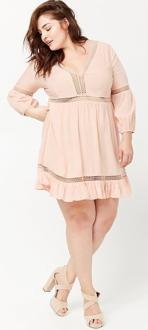 Plus Size Crochet Lace Peasant Dress