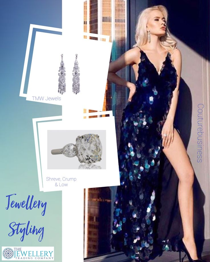 Don't you love sequin gowns? This one is stunning, dark blue and shimmering. Thanks @couturebusiness. Just diamonds for this dress, some chandelier earrings from TMW Jewels NY and a gorgeous old cushion cut diamond ring from Shreve, Crump & Low. Jewels available from www.1stdibs.com
