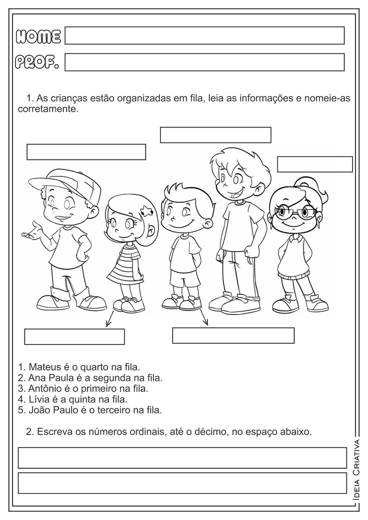 Atividades Números Ordinais Matemática para Ensino Fundamental