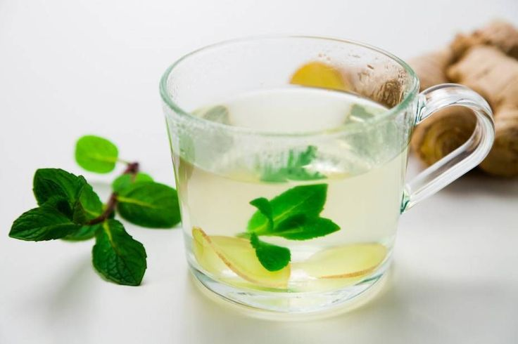 Mint Ginger Tea with white Background