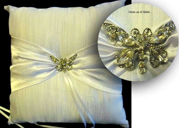 Ring Bearer Pillow with Diamante Butterfly