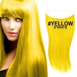 flip in extensions,yellow neon,gelb,50cm,haarverlängerung selber machen