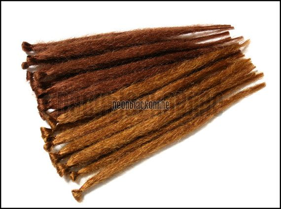 Single ended dread extensions - Auburn natural dreads -  set of 20