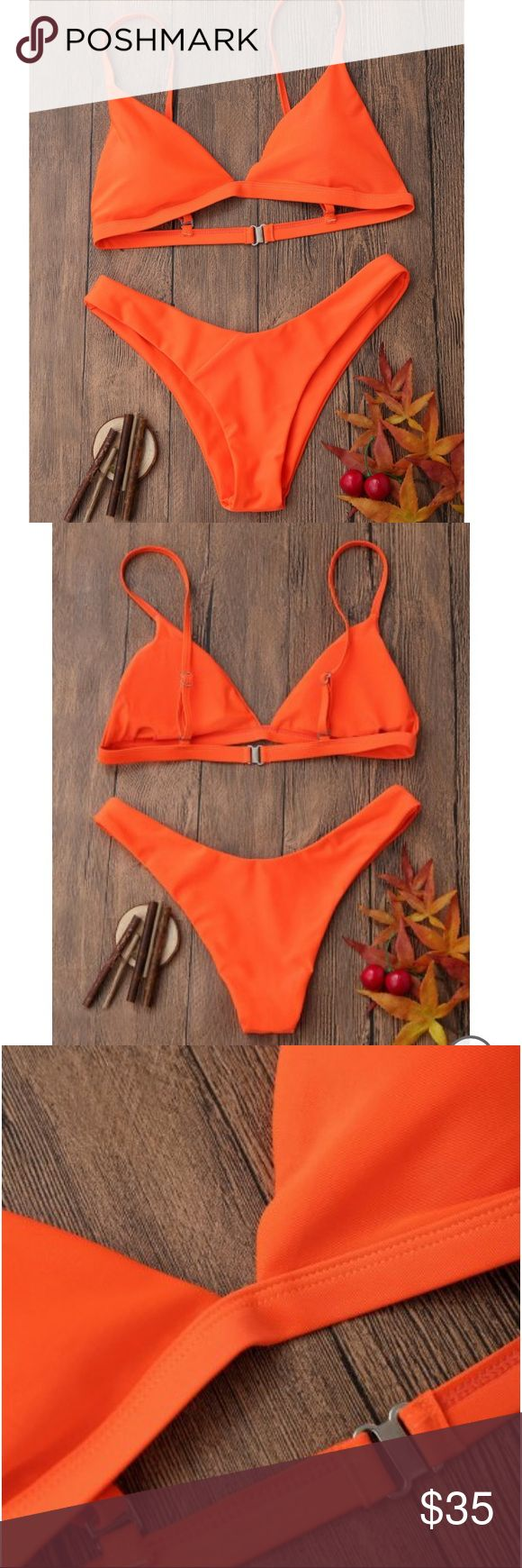 Orange bikini Bright Orange bikini. Bottoms are very Cheeky.  The top is padded and has a clasp to close.  The straps are adjustable.  Please see photos for size chart and additional details. ❌trades Swim Bikinis