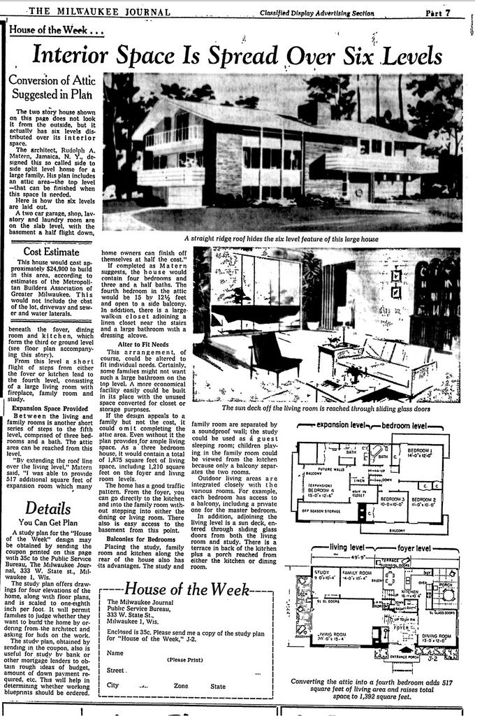 8 best rudolph matern images on pinterest vintage homes vintage from milwaukee journal 1962 malvernweather Choice Image