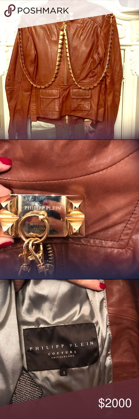 Philip Plein Couture brown leather moto jacket Gorgeous 100% authentic Philip Plein moto jacket with gold hardware. Hardware is removable/optional. 100%lamb leather/buttery soft. Size small. Never worn Philipp Plein Jackets & Coats
