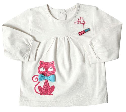 A cute little girls cotton elastane jersey top with kitty print on front.  This top will look great matched with the woven skirt from this range. Why not match this item with 'Bots' tights to make a fab outfit!  In Light Pink, Turquoise or Cream colours.  Available in sizes 3/6months, 3/6months, 6/12months, 12/18months, 18/24months and 2-3 years.