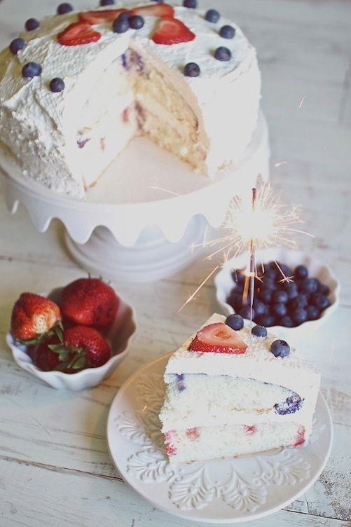 4th of July Strawberry Blueberry Poke Cake-- w/ fresh strawberries & Greek yogurt!