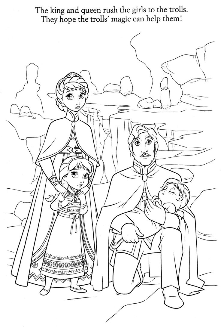 Coloring Pages Frozen - The king and queen hope that the trolls magic can help the girls have fun coloring this free disney frozen movie coloring sheet