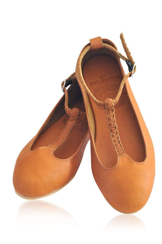 T strap shoe / t strap flat / leather ballet flats / womens shoes