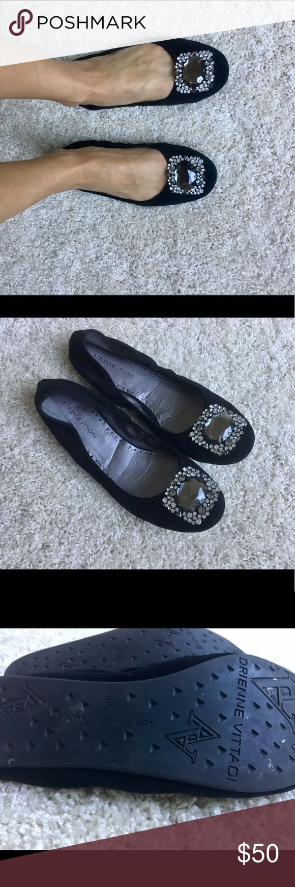 Soft Suede Ballet Flat with Crystal Embellishment Worn one, excellent condition - these are super soft and flexible, which means they don't rub roughly on the ankle! Adrienne Vittadini Shoes Flats & Loafers