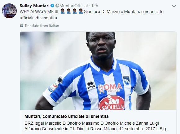 Sulley Muntari denies reports of his arrest in Italy