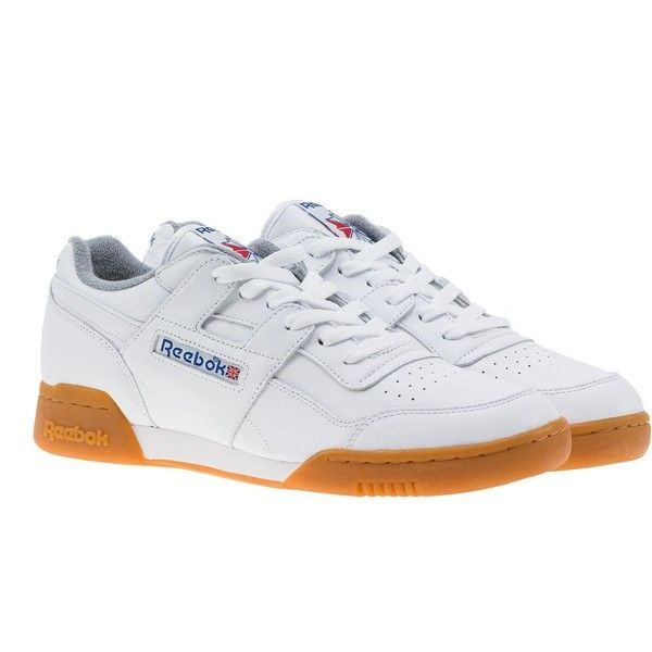 Reebok Workout Plus Vintage Sneakers ($87) ❤ liked on Polyvore featuring shoes, sneakers, white, reebok shoes, reebok sneakers, reebok, white trainers and vintage shoes