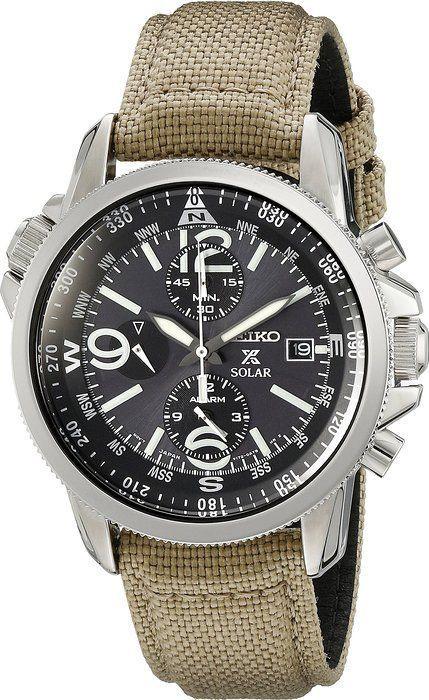 Seiko Prospex Smoke Dial SS Tan Textile Chronograph Quartz Men's Watch SSC293 - mens watches sale online, mens watches under 100, mens designer watches online