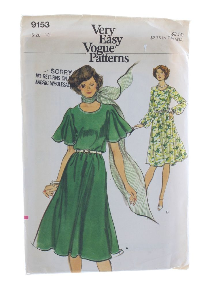 70s -Vogue Pattern No. 9153- Womens loose fitting, mid knee or below knee length tent dress with low round neckline, above elbow length butterfly bias sleeves or full length sleeves with elasticized wrists.Back zipper closing and top stitch trim.Purchased belt holds in fullness at waistline.Purchased scarf.