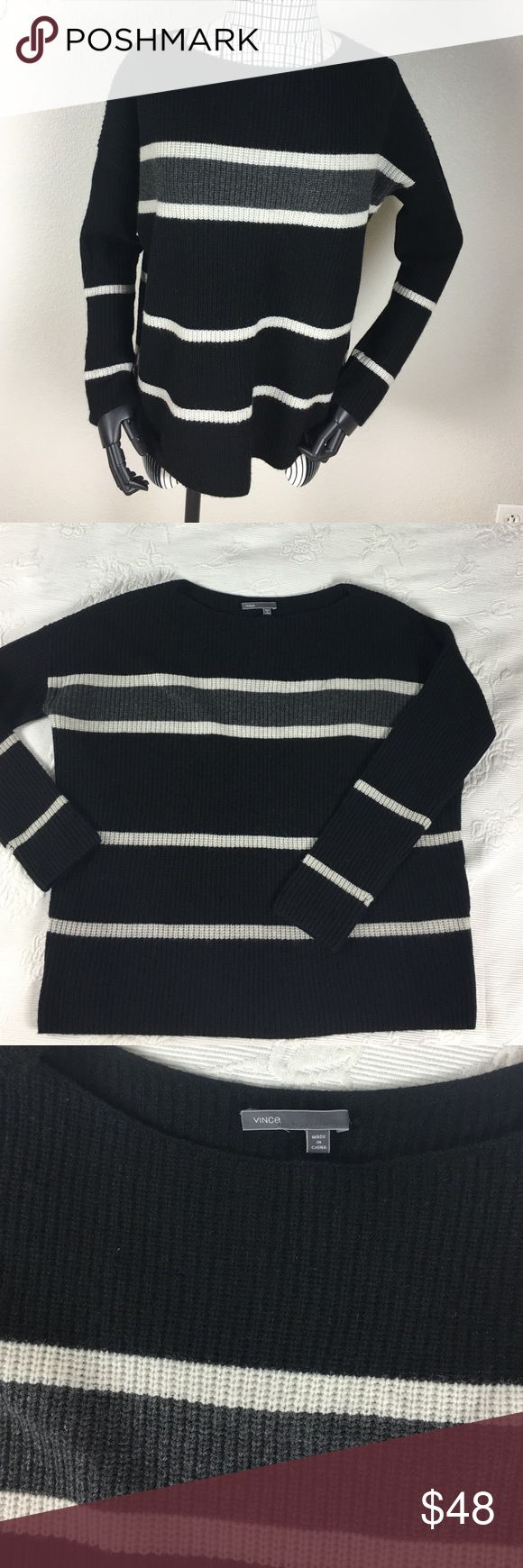 "Vince Boxy Striped Sweater NWOT Classic sweater very soft.  Body is boxy and arms are tighter.  Size and material tags are missing.  So I am estimating the size to be medium and material to be a cashmere wool blend.  24"" pit to pit and 24"" length. Boat neck.  Very soft.  I got these at the Vince Outlet store in Las Vegas for a deal and I'm passing it on. Kept one for myself, I normally wear a small and this style works fine for a variety of sizes. Vince Sweaters Crew & Scoop Necks"