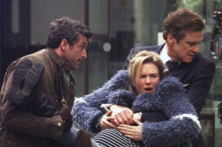 HERE'S Bridget Jones pregnant and getting carried away in the arms of two men in her new film.