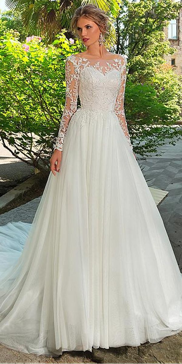 [192.50] Stunning Tulle Bateau Neckline A-Line Wedding Dress With Lace Appliques & 3D Flowers & Beadings