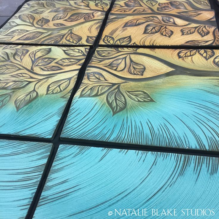 Handmade Tiles Tree Of Life Wall Art Mural Composed Hand Carved Rolled Ceramic