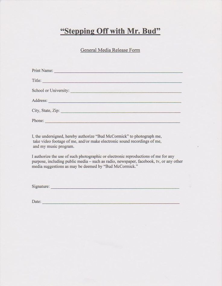 Media Release Form Stepping Out With Mr Bud Pinterest - sample general release form