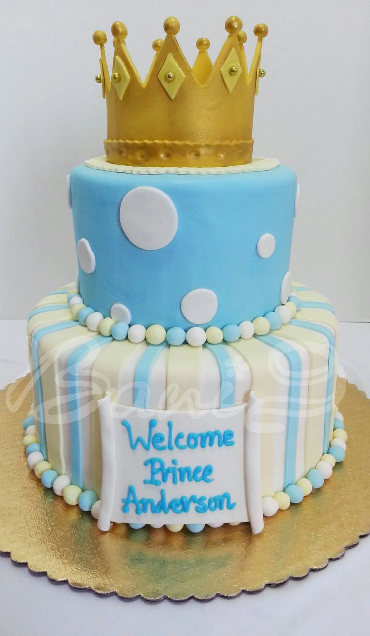 crown cake, prince cake, babyboy shower cake Tiered ...