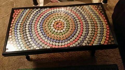 Beer cap coffee table top