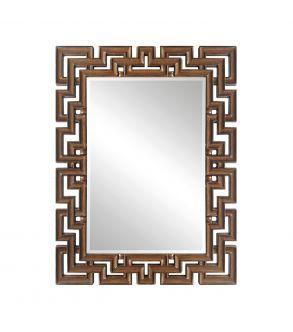 Espelho retangular marrom
