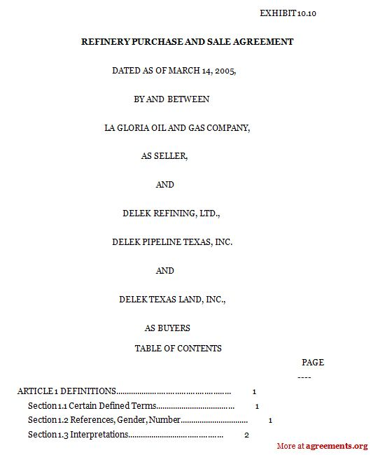 Refinery Purchase and Sale Agreement, Sample Refinery Purchase and ... - sale agreement