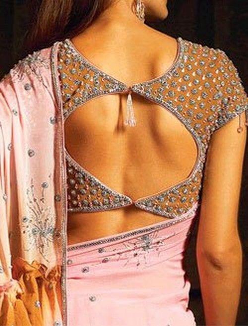 Round open back saree