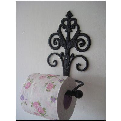 Aged Black Toilet Roll Holder... Love The Vintage Rose Toilet Paper!