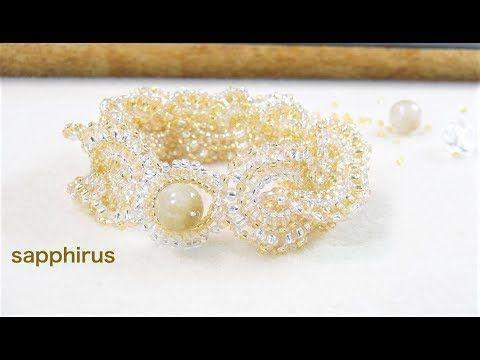 【ハンドメイド】How to make an elegant beaded bracelet (Eng Sub) シードビーズで編むブレスレットの作り方 ビーズステッチ - YouTube
