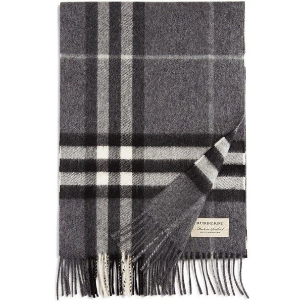 Burberry Giant Icon Check Cashmere Scarf (497,575 KRW) ❤ liked on Polyvore featuring men's fashion, men's accessories, men's scarves, mid grey, mens cashmere scarves and burberry mens scarves